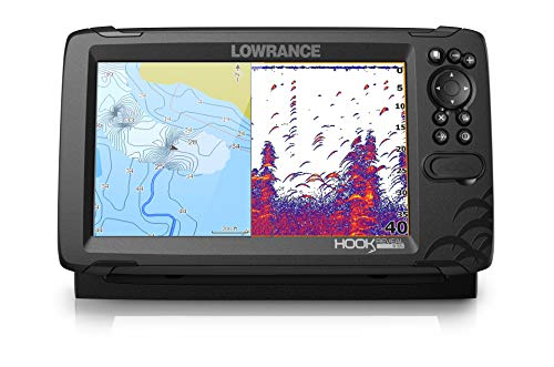 Lowrance Hook Reveal 9 with Deep Water Performance - 9-inch Fish Finder with HDI Transducer, C-MAP Contour+ Chart Card