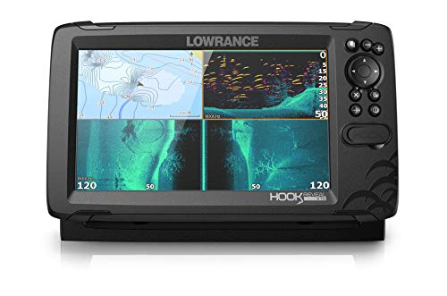 Lowrance HOOK Reveal 9 TripleShot - 9-inch Fish Finder with TripleShot Transducer, Preloaded US/CAN Navionics+ Chart