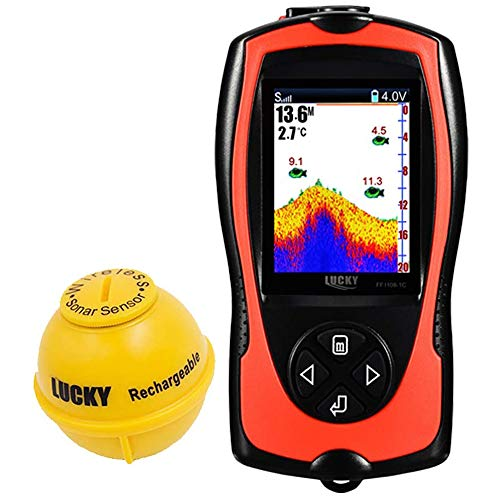 LUCKY Portable Fish Finder Transducer Sonar Sensor 147...
